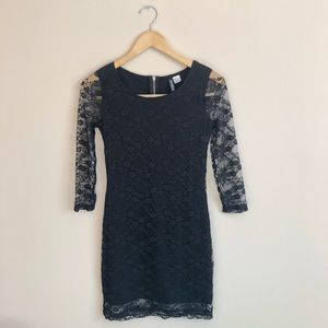 Divided by H&M Black Floral Lace Long Sleeve Dress